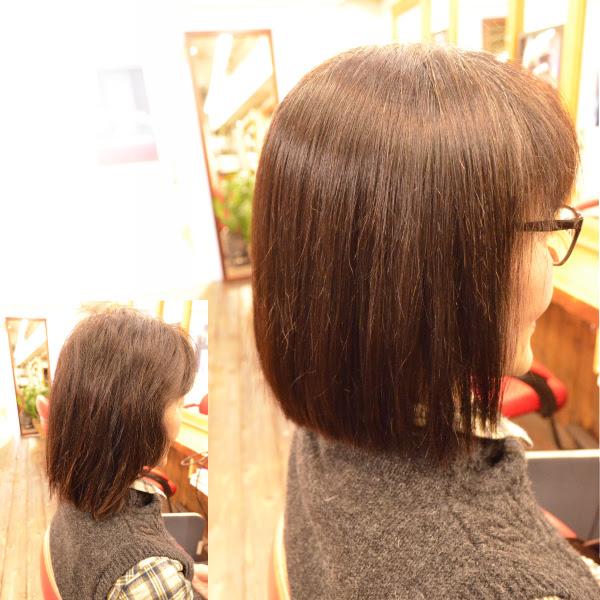 縮毛矯正の髪型でボブスタイル