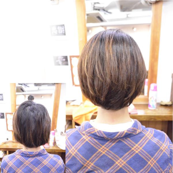 縮毛矯正の髪型でショートボブ