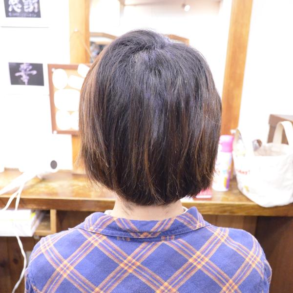 縮毛矯正のショートボブ髪型-施術前1